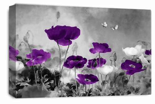 CHINESE FLORAL FLOWER PURPLE GREY PICTURE 30 x 20